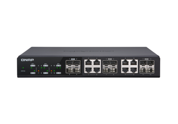 Qnap 12 Port Web Managed Switch, 10gbe Sfp+(4), Shared 10gbe Sfp+/10gbase-t(8), 2yr