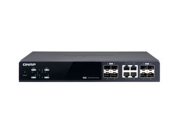 Qnap 8 Port Web Managed Switch, 10gbe Sfp+(4), Shared 10gbe Sfp+/10gbase-t(4), 2yr