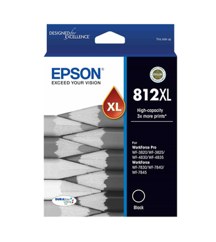 EPSON 812XL HI CAP DURABRITE ULTRA BLACK INK SUITS WF-3820 3825 4830 4835 7830 7840 7845