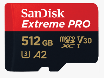 SanDisk Extreme Pro microSDXC, SQXCZ 512GB, V30, U3, C10, A2, UHS-I, 170MB/s R, 90MB/s W, 4x6, SD adaptor, Lifetime Limited