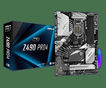 Intel Z490; ATX; 4 DIMM; PCIe x16: 2(x16, x4), PCIe x1: 3, 1 WiFi Key E, HDMI, D-Sub, 2x Rear USB 3.2 Gen2, USB 3.2 Gen1 (4 Front, 4 Rear)