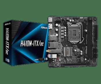Inter H410; 5, Dr.MOS; 2x DIMM; MOS Heatsink; 1 PCIe Gen3 x4 & SATA3 1 WiFi Key E; HDMI, DP