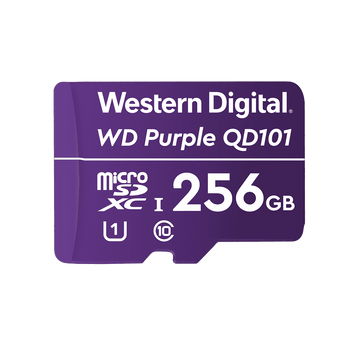WD microSD;Storage Capacity: 256 GB;Maximum Read Speed: 100 MB/s;Maximum Write Speed: 60 MB/s;Speed Class Rating: Class 10/UHS-III (U3);  3YRS