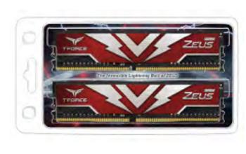 T-FORCE Zeus Series 32GB(2x16GB) DIMM DDR4 3000MHz 1.35V, Red Heat spreader