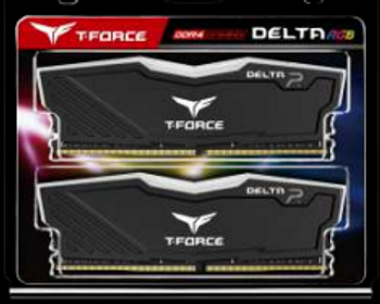 T-FORCE Delta RGB Series DRAM 16GB (2x8GB) DDR4 3600MHz 1.35V Black Heatspreader
