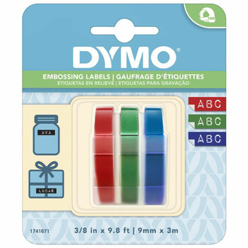 Dymo Embossing Tape 9mm x 3m Assorted 3 Pack
