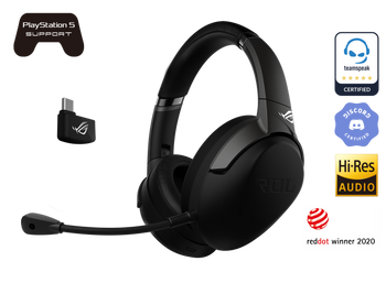 ASUS ROG Strix Go 2.4, Wireless 2.4GHz Gaming Headset w/Mic, RF 2.4GHz, AI Noise-cancelling, USB-C Charging, Black, 1 Yr Warranty