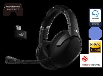 ASUS ROG Strix Go 2.4, Wireless 2.4GHz Gaming Headset w/Mic, RF 2.4GHz, AI Noise-cancelling, USB-C Charging, Black, 1 Yr Warranty