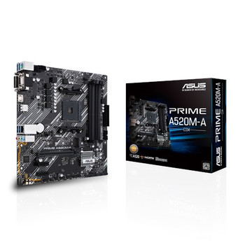 AMD A520 (Ryzen AM4) micro ATX motherboard with M.2 support, 1 Gb Ethernet, HDMI/DVI/D-Sub, SATA 6 Gbps, USB 3.2 Gen 1 Type-A