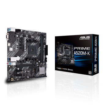 AMD A520 (Ryzen AM4) micro ATX motherboard with M.2 support, 1 Gb Ethernet, HDMI/D-Sub, SATA 6 Gbps, USB 3.2 Gen 1 Type-A