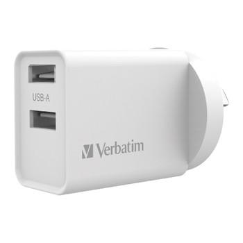 Verbatim USB Charger Dual Port 2.4a - White
