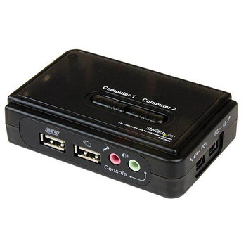 Startech.com 2 Port VGA KVM Switch, Usb-a, Audio, 2in1 Vga Usb Cable Included, Hotkey, 2yr