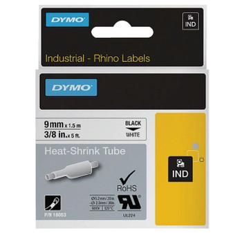 Dymo Rhino Tube Heat Shrink 9mm Black on White