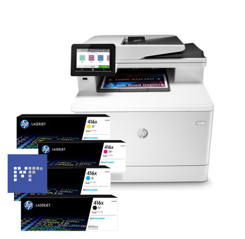 BUNDLE HP Color LaserJet Pro MFP M479fdw 28ppm A4 Wireless Colour Multifunction Printer + 416X Toners
