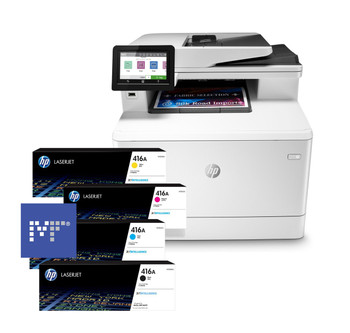 BUNDLE HP Color LaserJet Pro MFP M479fdw 28ppm A4 Duplex Wireless Colour Multifunction Printer + 416A Toners
