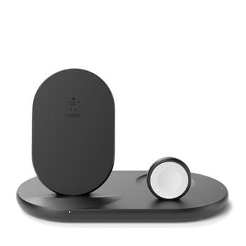 Belkin Qi Wireless 3 in 1 Charging Dock Stand 10w for Phone, Apple Watch & iPod, Black