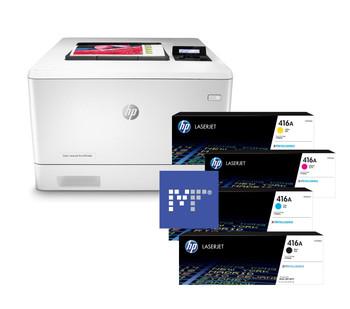 BUNDLE HP Color LaserJet Pro M454dn 27ppm A4 Colour Laser Printer + 416A Toners (W2040A, W2041A, W2042A, W2043A)