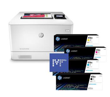 BUNDLE HP Color LaserJet Pro M454dn 27ppm A4 Colour Laser Printer + 416X Toners (W2040X, W2041X, W2042X, W2043X)