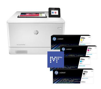 BUNDLE HP Color LaserJet Pro M454dw 27ppm A4 Wireless Colour Laser Printer + 416A Toners (W2040A, W2041A, W2042A, W2043A)