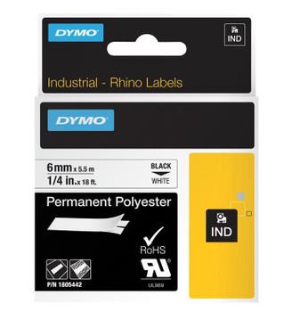 Dymo Rhino Black on White 6mm x 5.5m Tape
