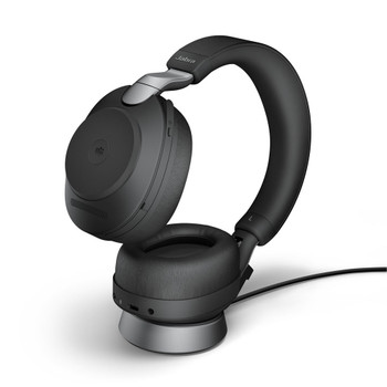 Jabra Evolve2 85 Link380a UC Stereo Headset (Black) with Charging Stand