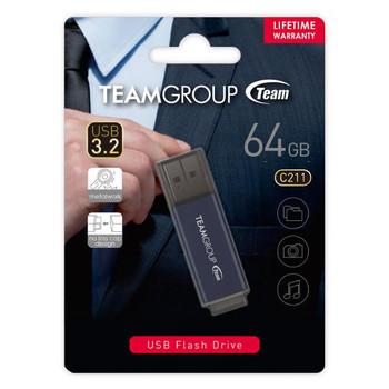 TEAM C211 USB3.2 Gentleman Grey Flash 64GB Lifetime Warranty