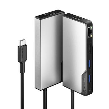ALOGIC USB-C FUSION Max 6-in-1 Hub - 1 x HDMI 4K@30Hz, 1 x VGA, 2 x USB-A (USB 3.0), 1 x Gigabit Ethernet, 1 x USB-C (Data & PD) - Space Gre