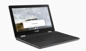 """Asus CHROMEBOOK FLIP, CEL N4020, CHROME OS, 11.6"""" HD Touch, Rugged, 4GB DDR4, 64G eMMC, DUAL CAM (HD&5M), 1 x USB 3.2, 2 x USB-C, GREY, 1 YR PUR"""