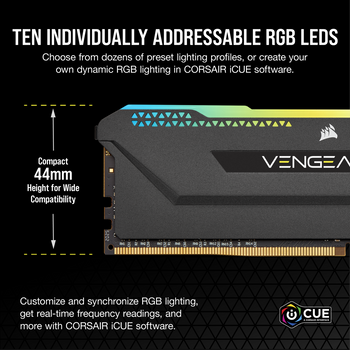 DDR4, 3200MHz 16GB 2x8GB Dimm, Unbuffered, 16-20-20-38, XMP 2.0, Vengeance RGB Pro SL black Heatspreader, RGB LED, 1.35V, for AMD Ryzen & Intel