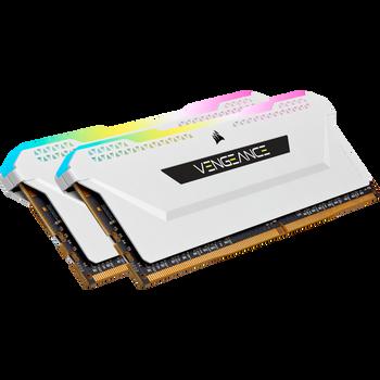 DDR4, 3600MHz 32GB 2x16GB DIMM, Unbuffered, 18-22-22-42, XMP 2.0, VENGEANCE RGB PRO SL White Heatspreader, RGB LED, 1.35V, for AMD Ryzen & Intel