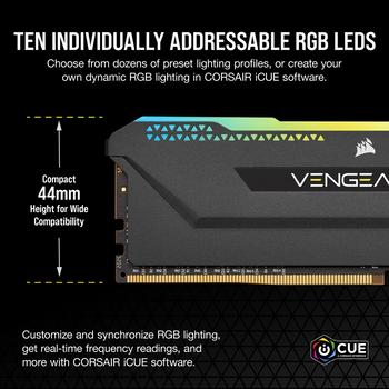 DDR4, 3200MHz 32GB 2x16GB Dimm, Unbuffered, 16-20-20-38, XMP 2.0, Vengeance RGB Pro SL Black Heatspreader, RGB LED, 1.35V, for AMD Ryzen