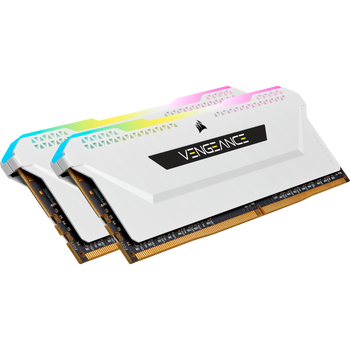 CORSAIR Vengeance RGB Pro DDR4, 3200MHz 32GB 2x16GB Dimm, Unbuffered, 16-20-20-38, XMP 2.0, white Heatspreader, RGB LED, Black PCB, 1.35V