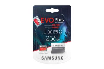 Samsung Micro SDXC 256GB EVO Plus /w Adapter UHS-1 SDR104, Class 10, Grade 1 (U3), Up to 100MB/s read, 90MB/s Write, 10 Years Limited Warranty