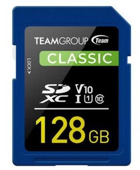 Team Classic SD Memory Card - 128 GB  UHS (Ultra) Speed Class 1(U1). Supports Video Speed Class 10(V10).