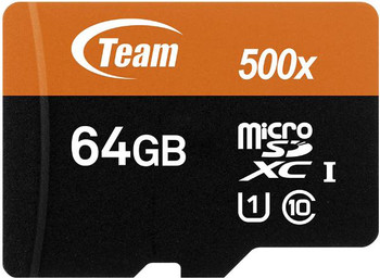 Team Group Memory Card microSDXC 64GB, UHS-I, 10MB/s Write*, with SD Adapter, Lifetime Warranty