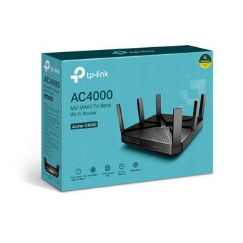 TP-link Archer C4000 Wireless Tri-Band Mu-mimo Router, gbe(4), usb 3.0(1), usb 2.0(1) 3yr