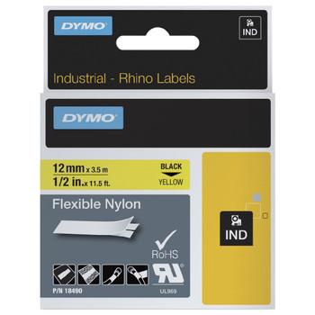 Dymo Rhino Flex Nylon Label 12mm Black on Yellow