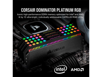 DDR4, 3600MHz 32GB 2x16GB DIMM, Unbuffered, 18-22-22-42, XMP 2.0, Dominator Platinum RGB Black Heatspreader, RGB LED, 1.35V