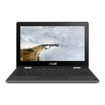 """Asus CHROMEBOOK FLIP, ZTE, CEL N4020, CHROME OS, 11.6"""" HD Touch, Rugged, 4GB DDR4, 64G eMMC, DUAL CAM (HD&5M), 1 x USB 3.2, 2 x USB-C, GREY, 1 YR PUR"""