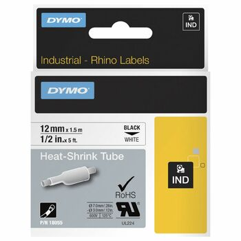 "Dymo Rhino 1/4"" Heat Shrink Tubes 12mm Black on White"