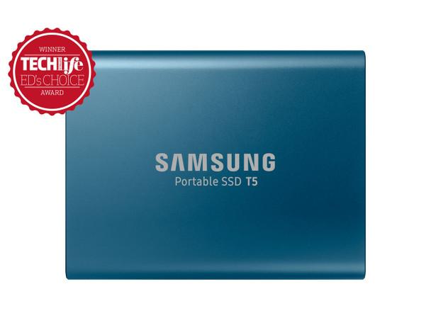 Samsung Portable SSD T5, 500GB, USB3.1, Type-C, (Alluring Blue) 3 Years Warranty