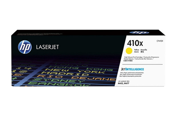 HP 410X High Yield M452/M377/M477 Yellow LaserJet Toner Cartridge (CF412X)