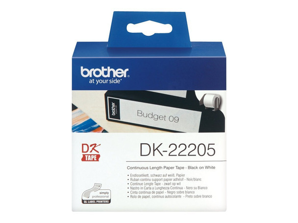 Brother DK-22205 White Continuous Paper Roll - 62mm x 30.48m