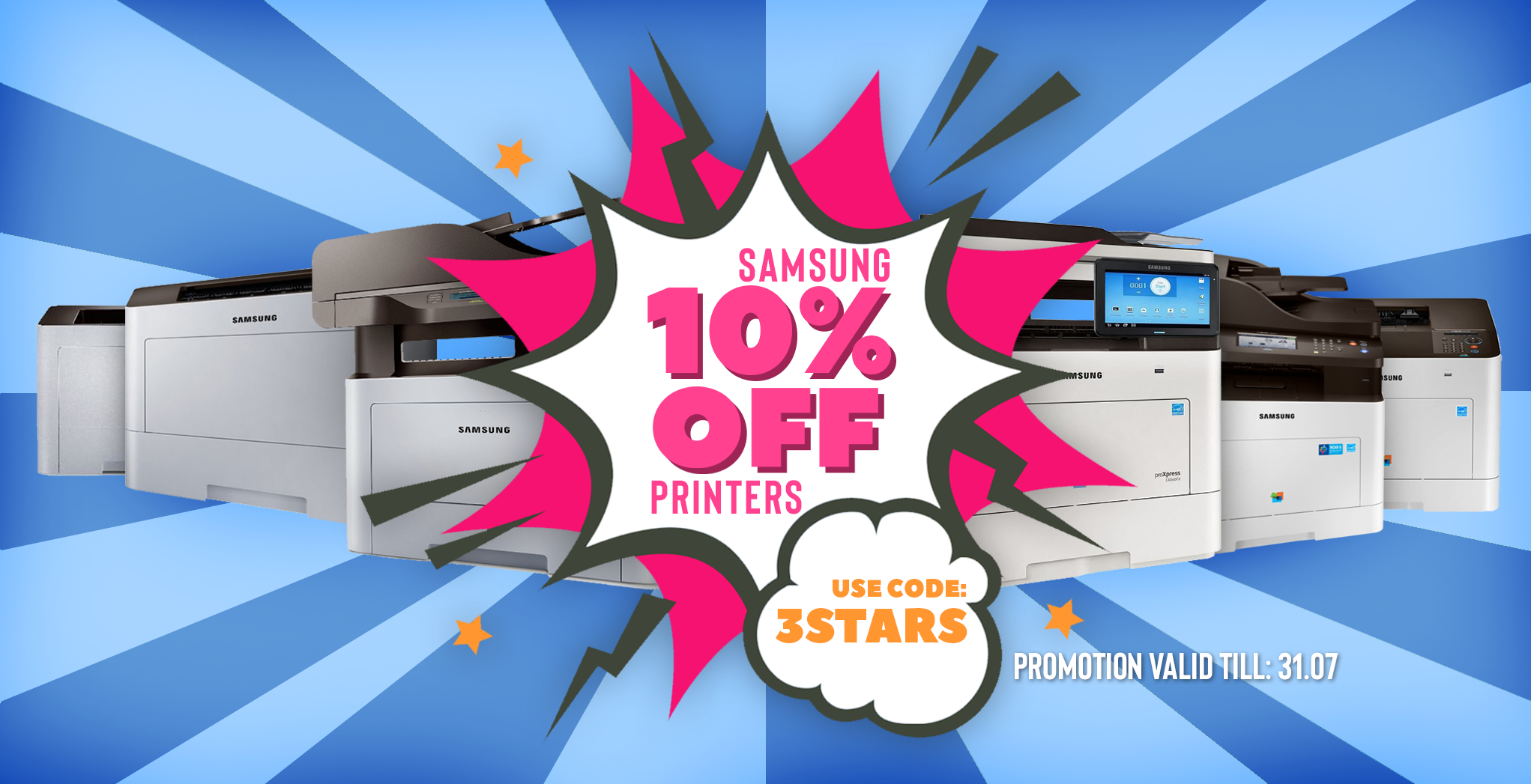 10% off selected Samsung printers - use code 3STARS