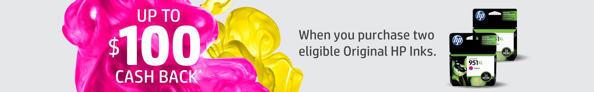 Up to $100 Cash Back HP EOFY Ink Promotion