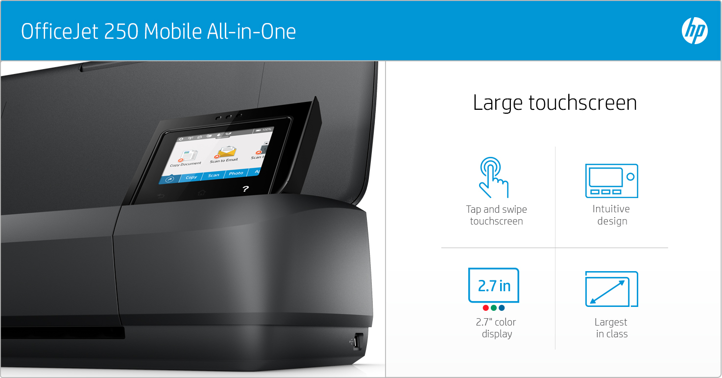 HP OfficeJet 250 Mobile - Large touchscreen