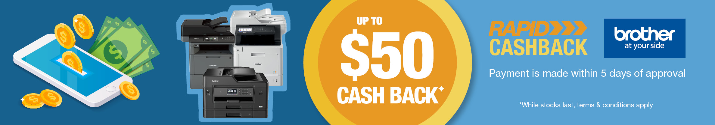 Brother up to $50 Cash Back on Selected Printers