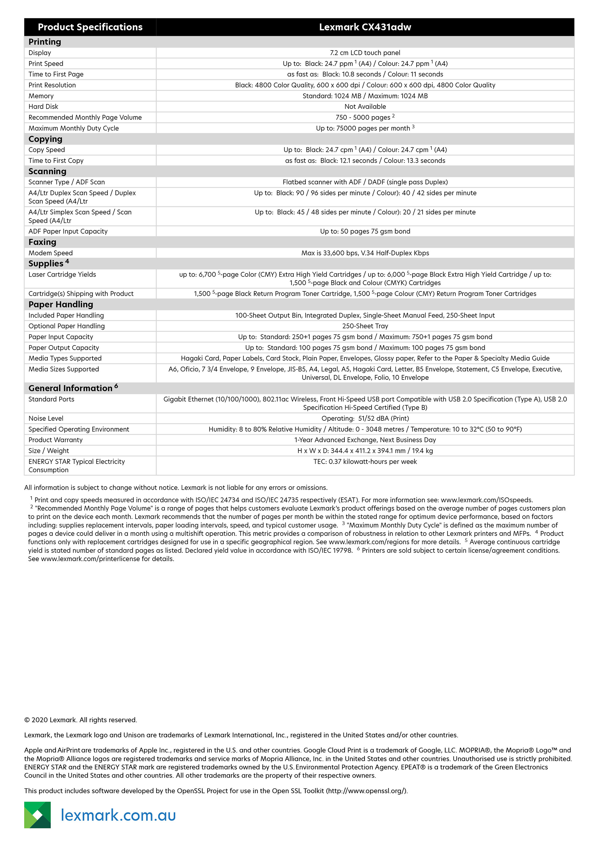 Lexmark CX431adw specs