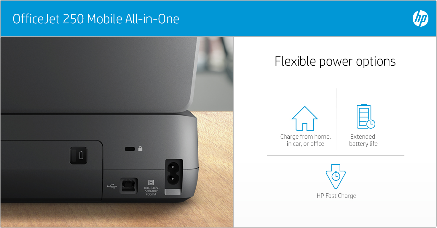 HP OfficeJet 250 Mobile - Flexible power options