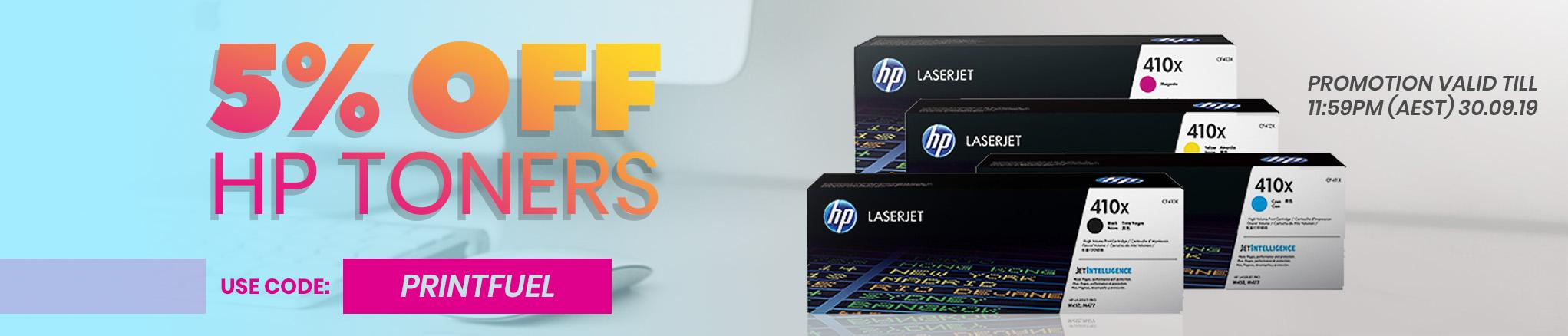5% off all HP toners - use code PRINTFUEL
